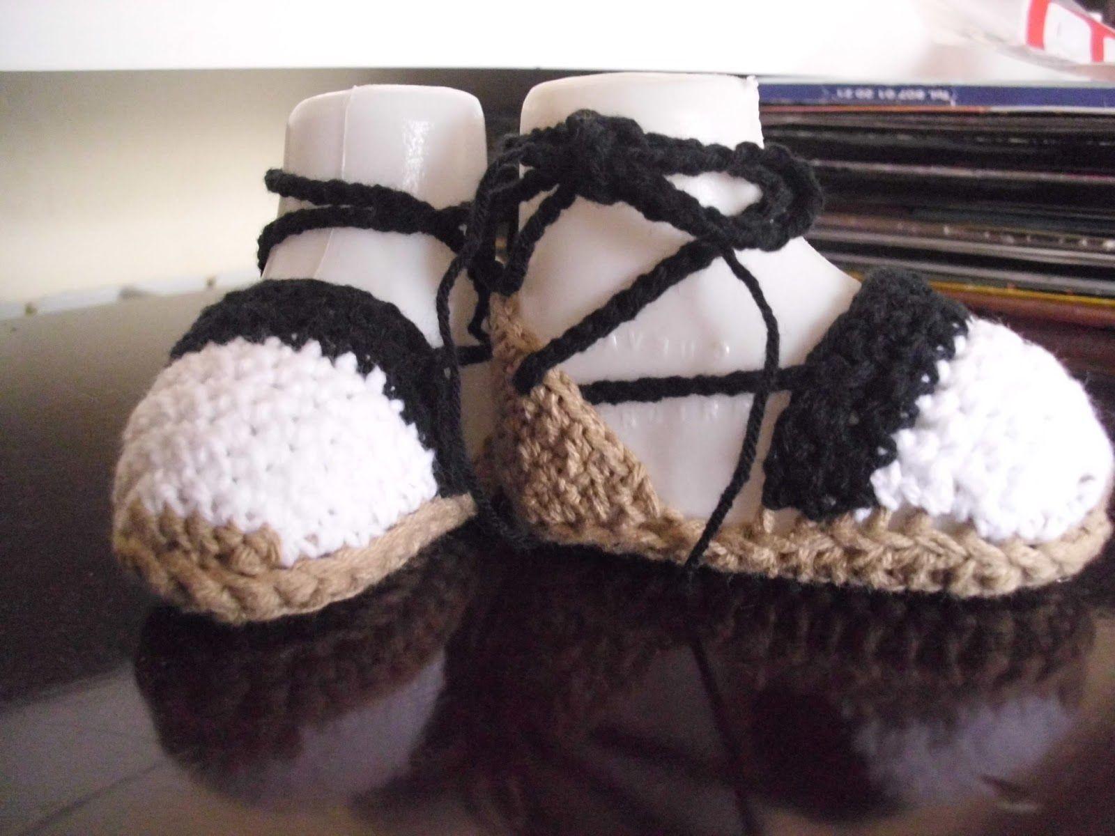 Zapatitos para Bebés hechos a crochet Espardenyes (tradicionales alpargatas  de esparto)