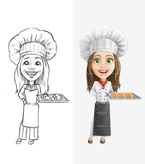 Woman Chef Cartoon Charаcter | Pencil Drafts | Pinterest ...