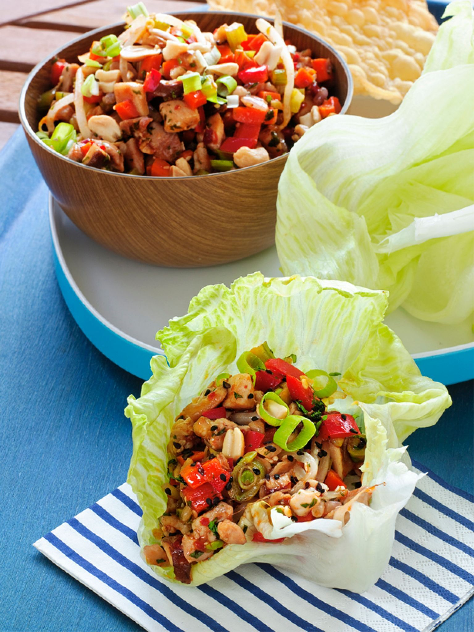 Guy fieris top recipes chicken lettuce cups lettuce cups and guy food network invites you to try this asian chicken lettuce cups recipe from guy fieri forumfinder Images