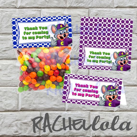 INSTANT DOWNLOAD Chuck E Cheese favor bag goodie by Rachellola