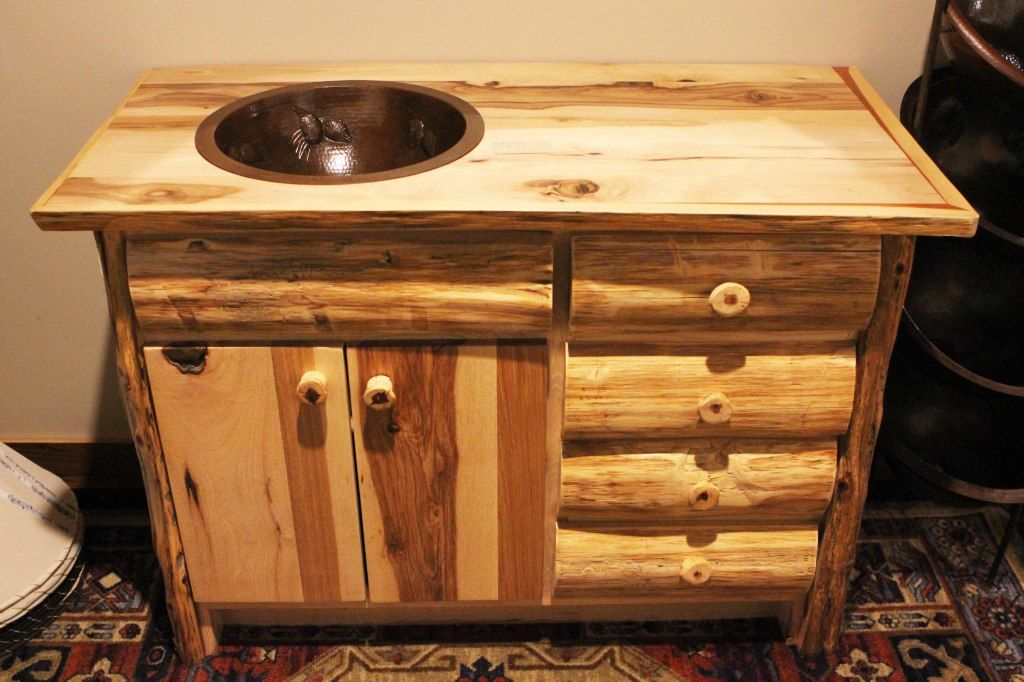 Natural Hickory Lumber And Eastern Cedar Logs Are Combined To Make - Rustic bathroom vanities for sale for bathroom decor ideas