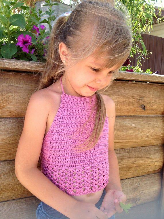 Pink crochet toddler top Fringe summer festival kids top