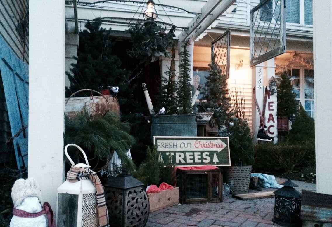 Christmas front porch/pergola, mini tree farm, love Christmas, outdoor Christmas design.