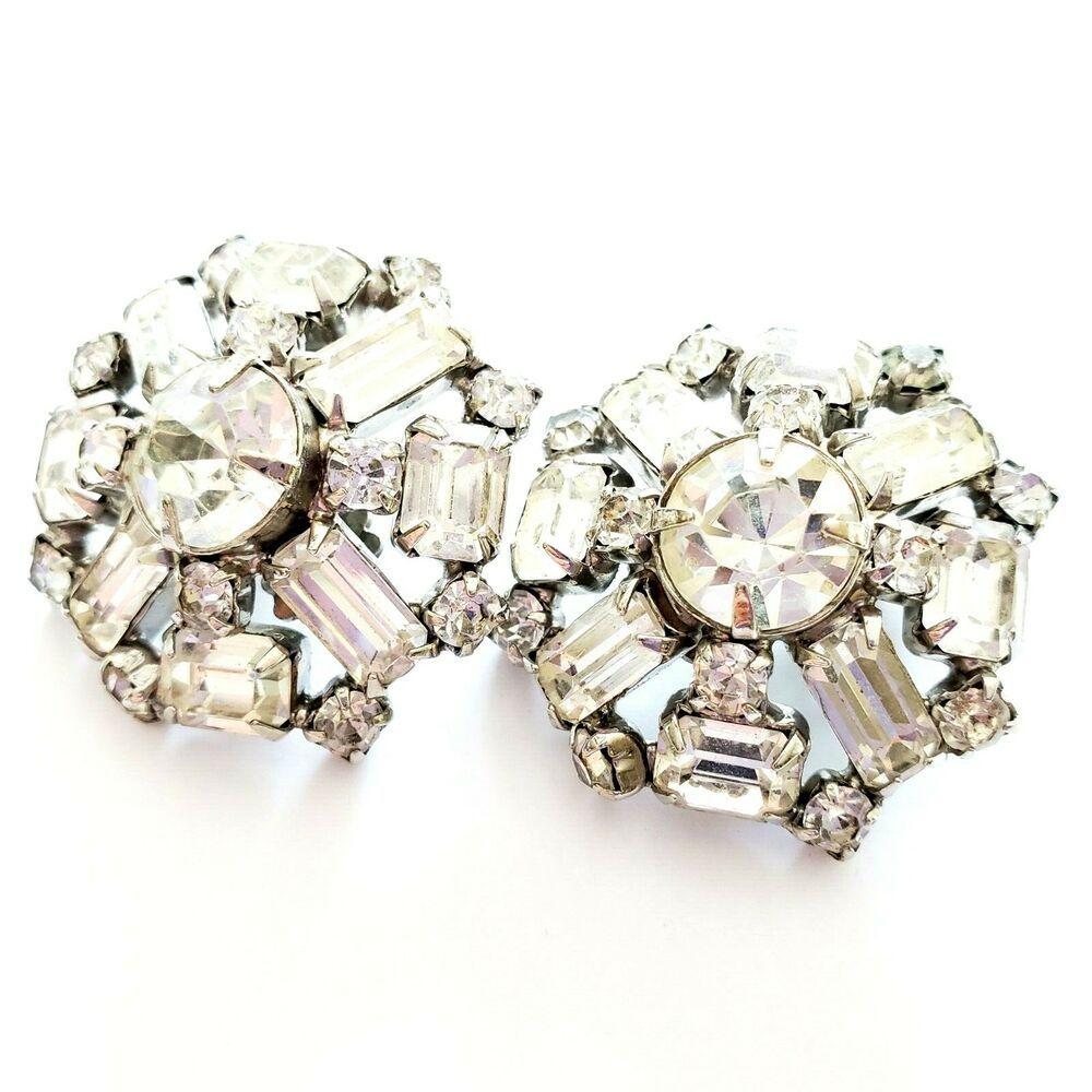 Rhinestone Earrings Lot Vintage Rhinestone Jewelry Vintage Rhinestone Bracelet Weiss Clip on Vintage Earrings