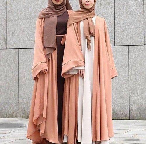 peach abaya style- How to style your Abaya cardigan for Ramadan ...