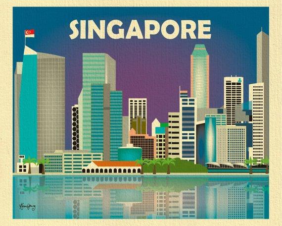 Singapore Skyline Print Singapore Flag Horizontal Singapore Etsy Singapore Travel Travel Artwork Usa Travel Destinations