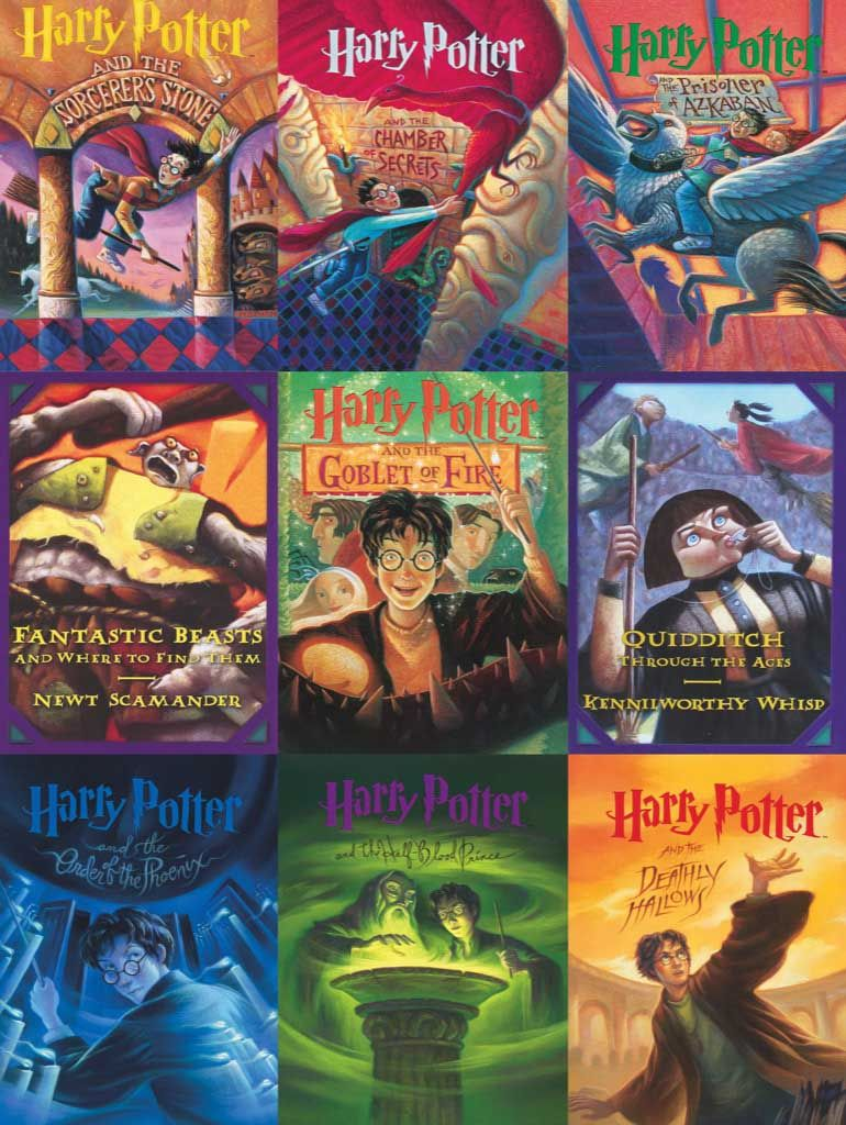 Book Cover Collage 500 Pieces New York Puzzle Co Puzzle Warehouse In 2021 Harry Potter Book Covers Harry Potter Books Series Harry Potter Illustrations