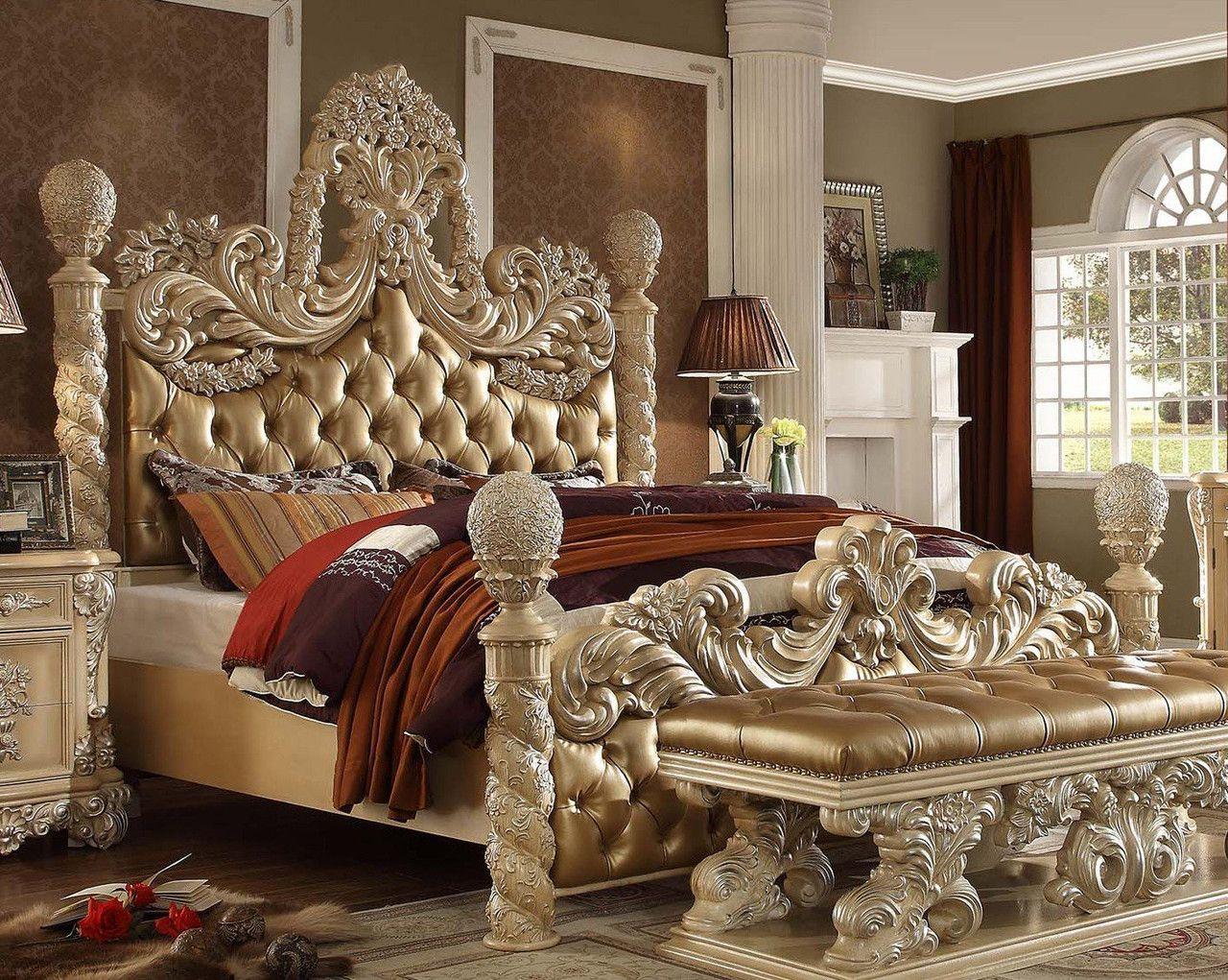 Homey Design HD-7266 Victorian European 5 Pcs Cal. King Bedroom Set ...