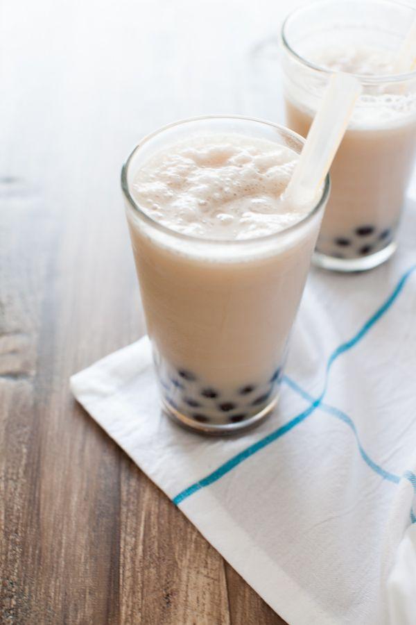 Coconut Almond Milk Tea Smoothies With Boba Almond Milk Tea