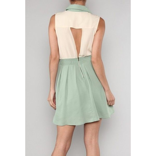 0765810db730b Pastel Whispers Two Toned Dress with Collar Tips in Sage Cream ...