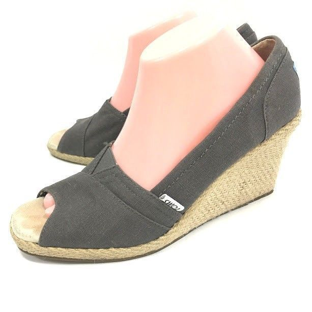 1e6d526d260 Toms Womens Calypso Wedge Espadrille Heels Gray Canvas Size 10 Peep Toe  Shoes  Toms  PlatformsWedges  Casual  ClarksShoesWomen  WomenShoesWinter