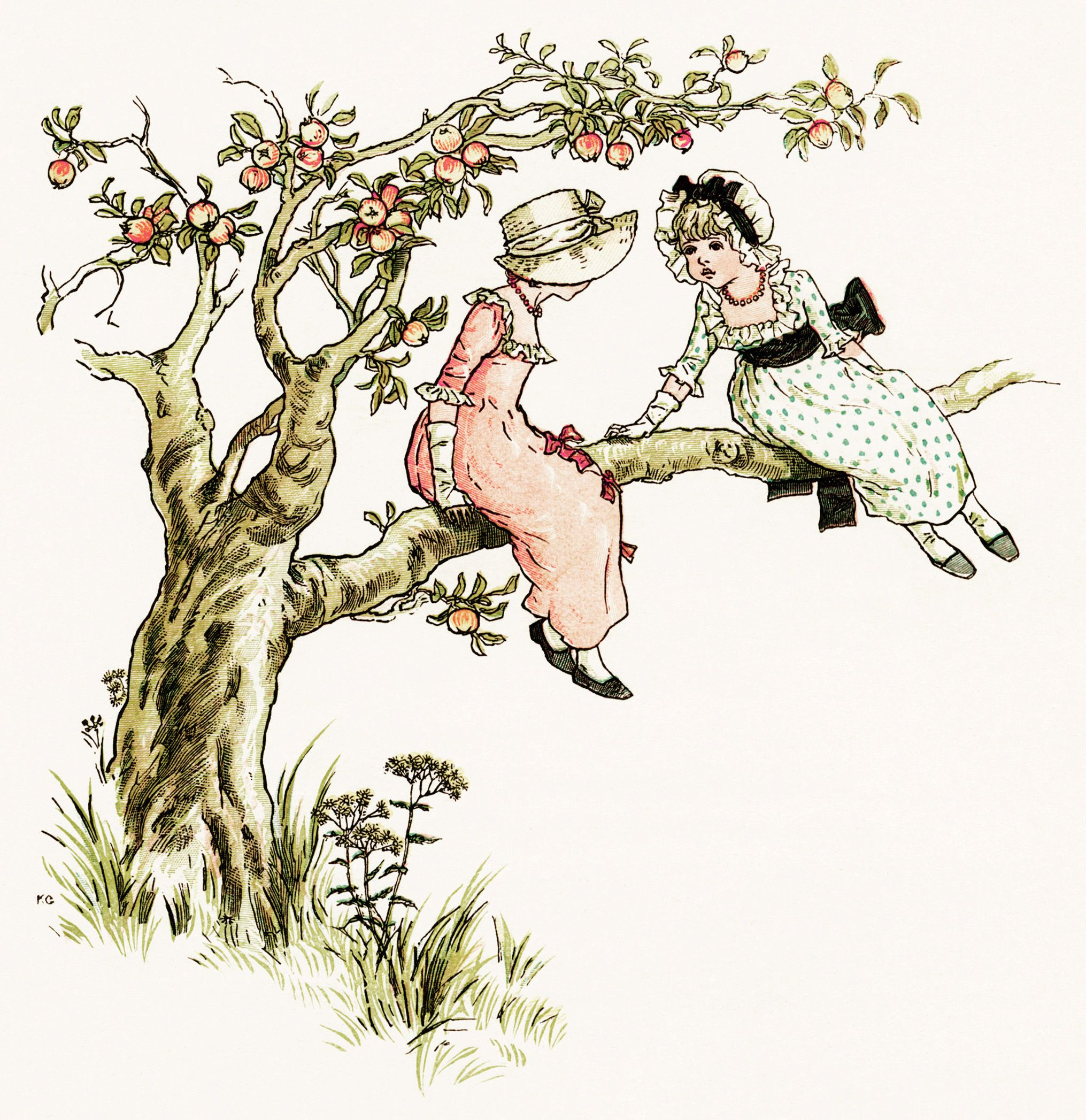 kate greenaway marigold garden in an apple tree victorian girl