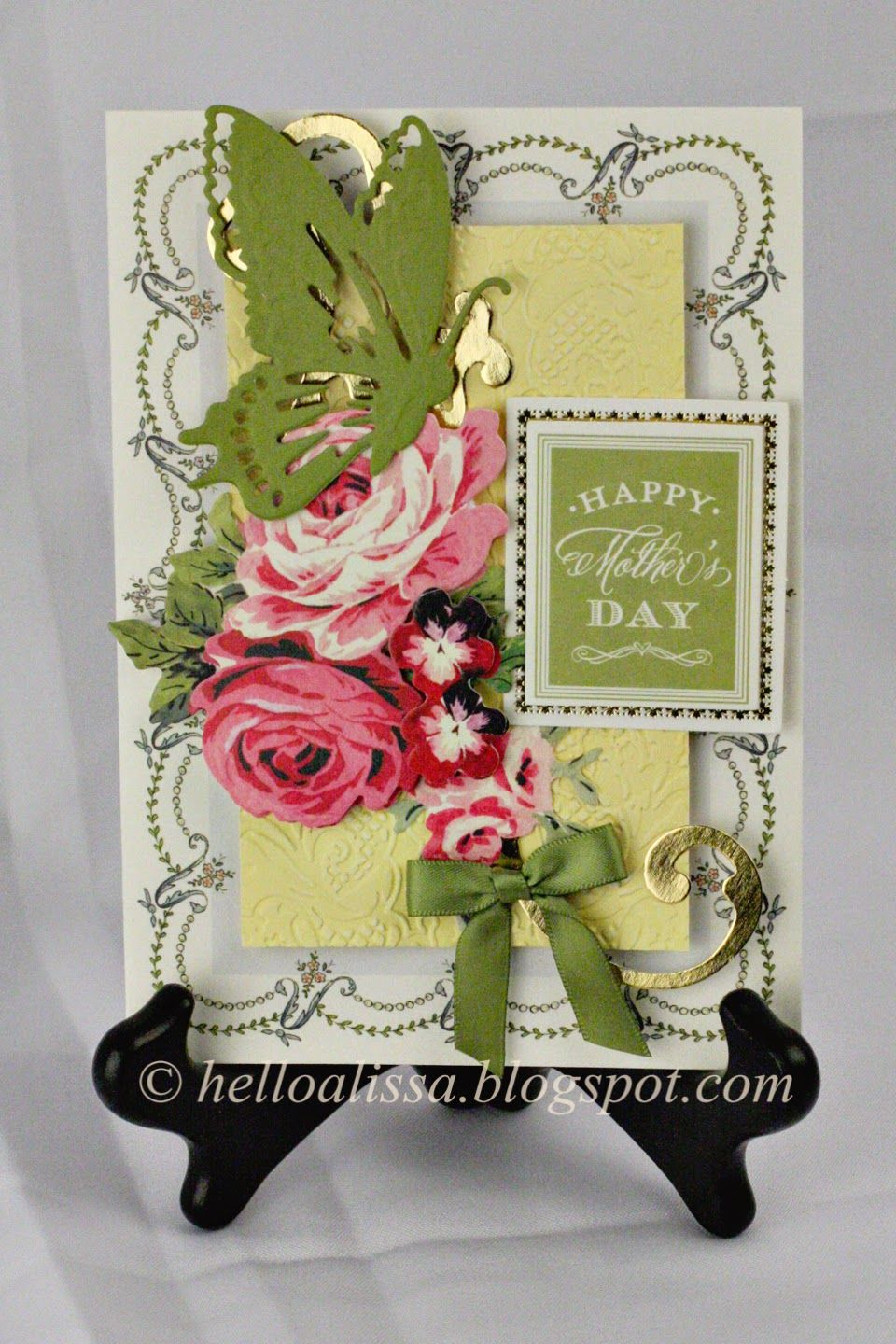Anna Griffin Pretty Paintings card kit, butterfly die, Mother's Day card at helloalissa.blogspot.com
