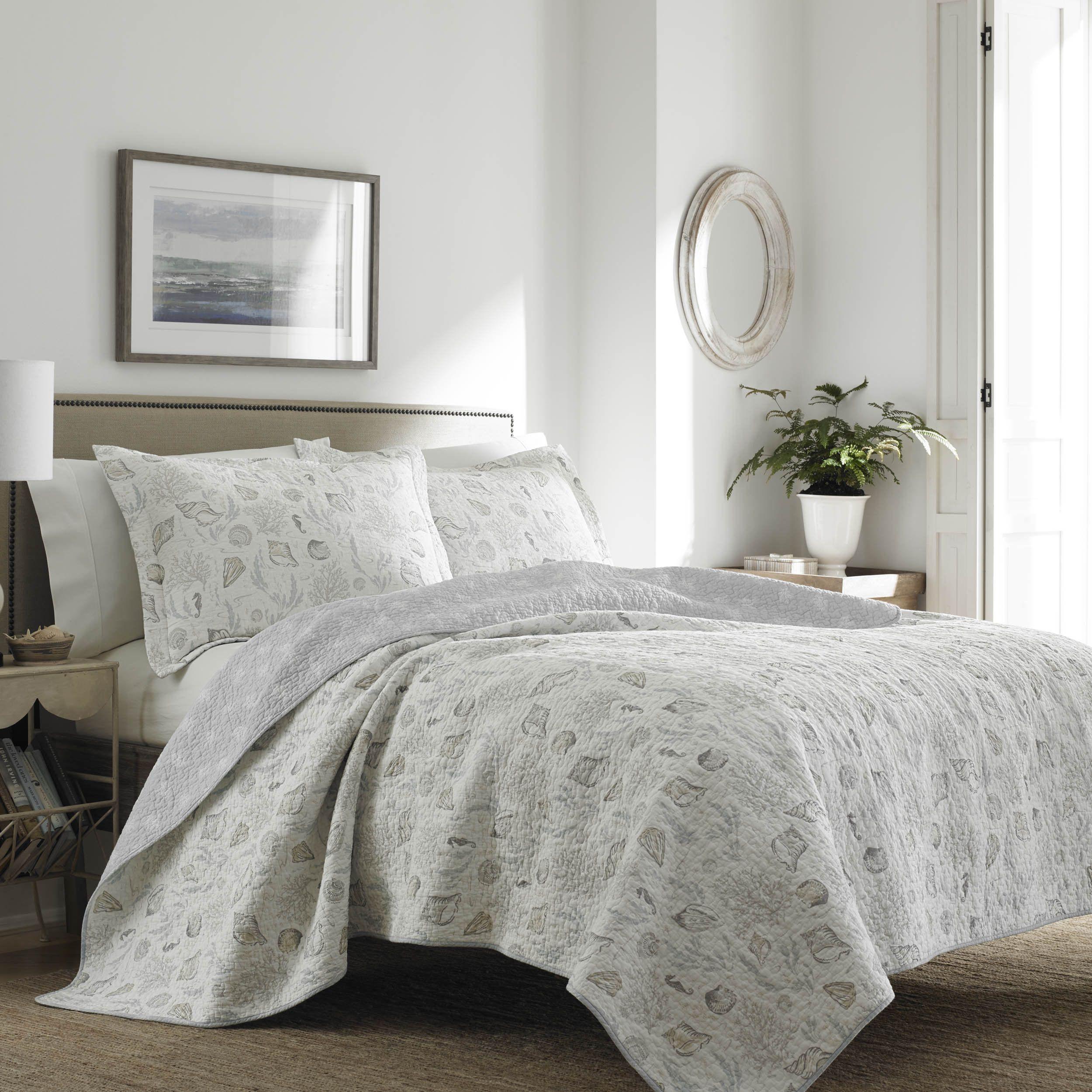 Laura Ashley Joy Reversible Quilt Set Gray Full//Queen