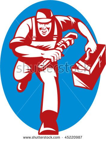 Vector Illustration Of A Plumber With Monkey Wrench And Toolbox Running Toward The Viewer Plumber Retro Illustration