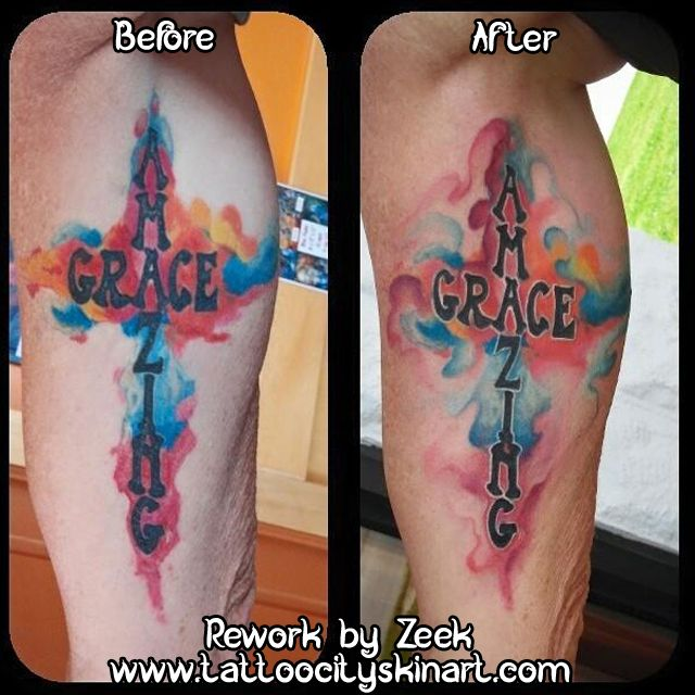 Amazing Grace Rework Cross Tattoo Watercolor Cross Lettering