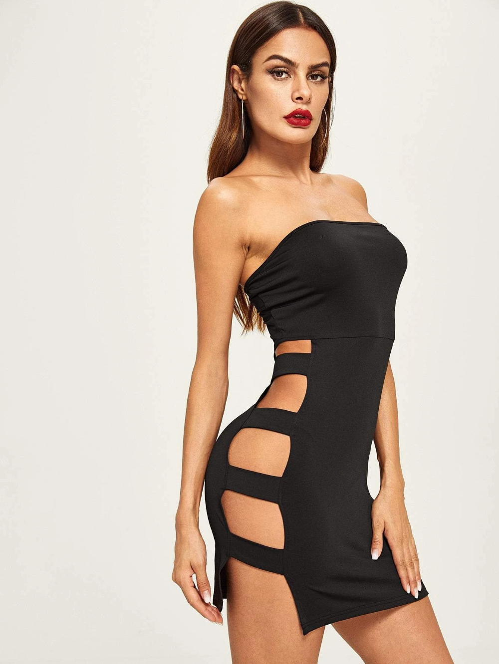 Party with Diamante Clubwear Black or Pink Summer Dress Cut Out Mini Tube