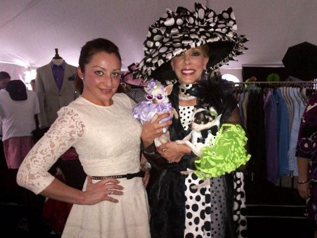 "Olga Yuditsky, designer of Orostani Couture,  with Socialite Michele Riggi at the 3rd annual ""Dogs and Divas"" Saratoga, New York canine fashion show fundraiser for the American Cancer Society (June 2013)"