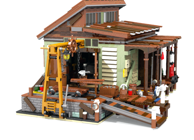 Boat repair shop my story for this modular creator for Old fishing store lego