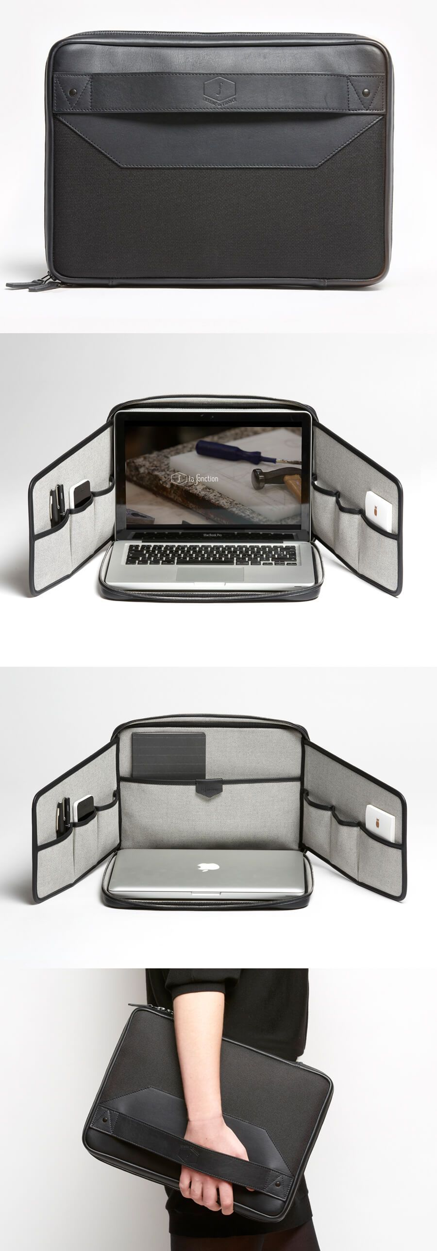 F01.2 (black) laptop bag/stand | Product Design | Pinterest | Leder ...