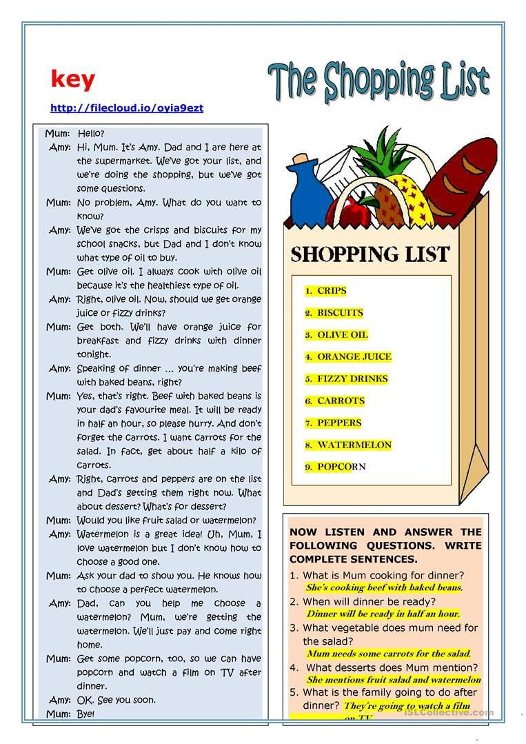 THE SHOPPING LIST - READING worksheet - Free ESL printable ...