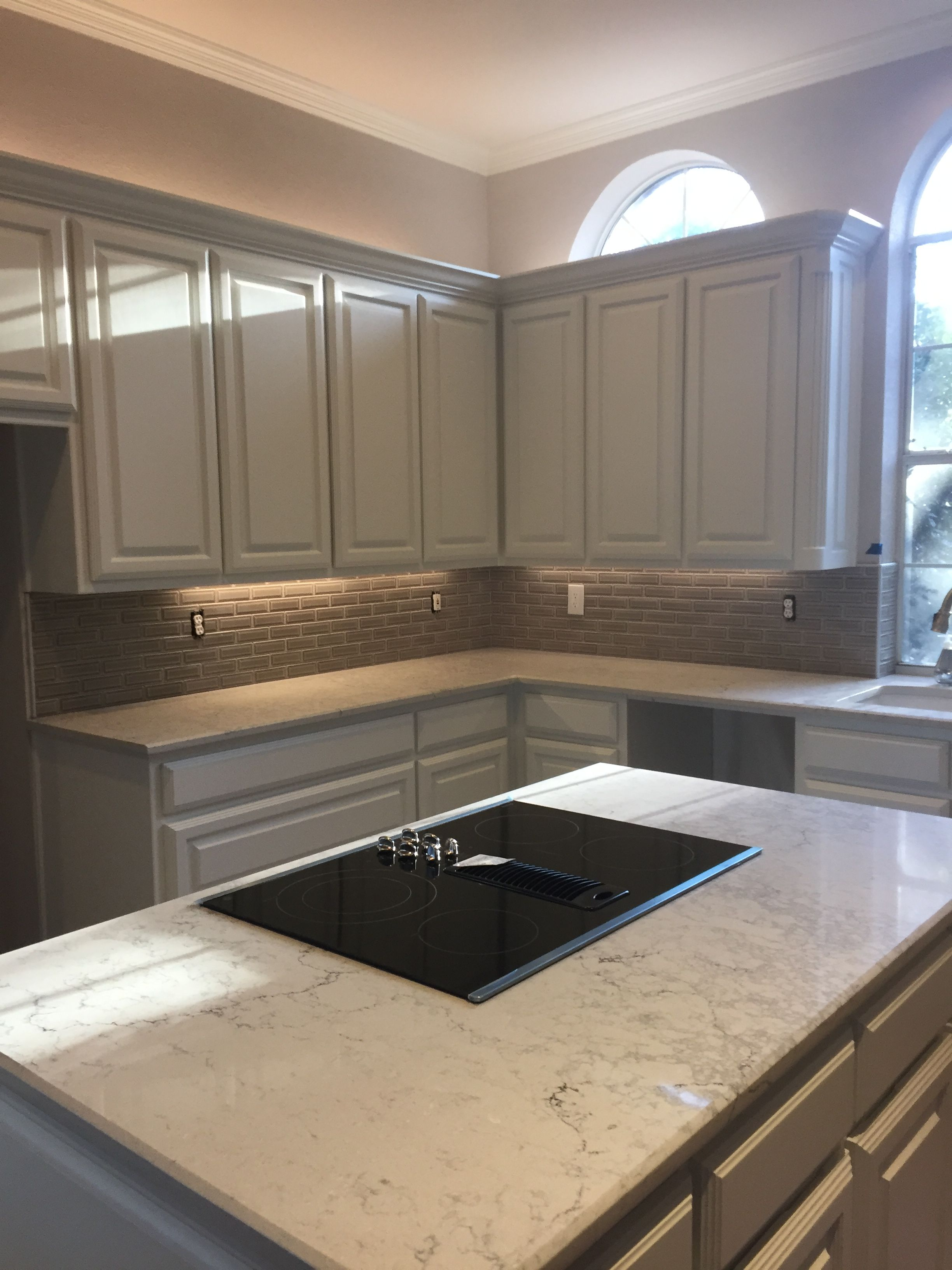 Caesarstone Montblanc Quartz Counters With Msi Dove Gray 2x6