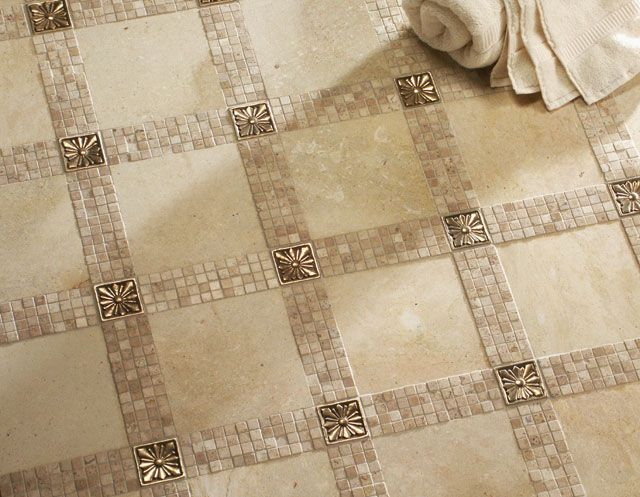 Custom Metal Tile Inserts Add Sparkle To This Tile Floor Pattern Patterned Floor Tiles Metal Tile Inexpensive Flooring