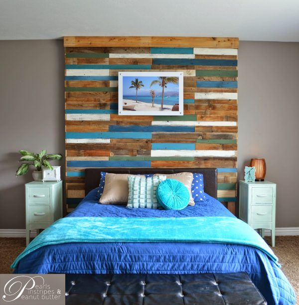 Diy Rustic Bedroom Set Plans Soon: Colorful And Rustic Plank Headboard Wall