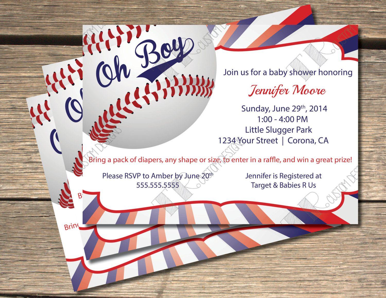 Oh Boy Baseball Themed Baby Shower Invitation 5x7 Pinterest