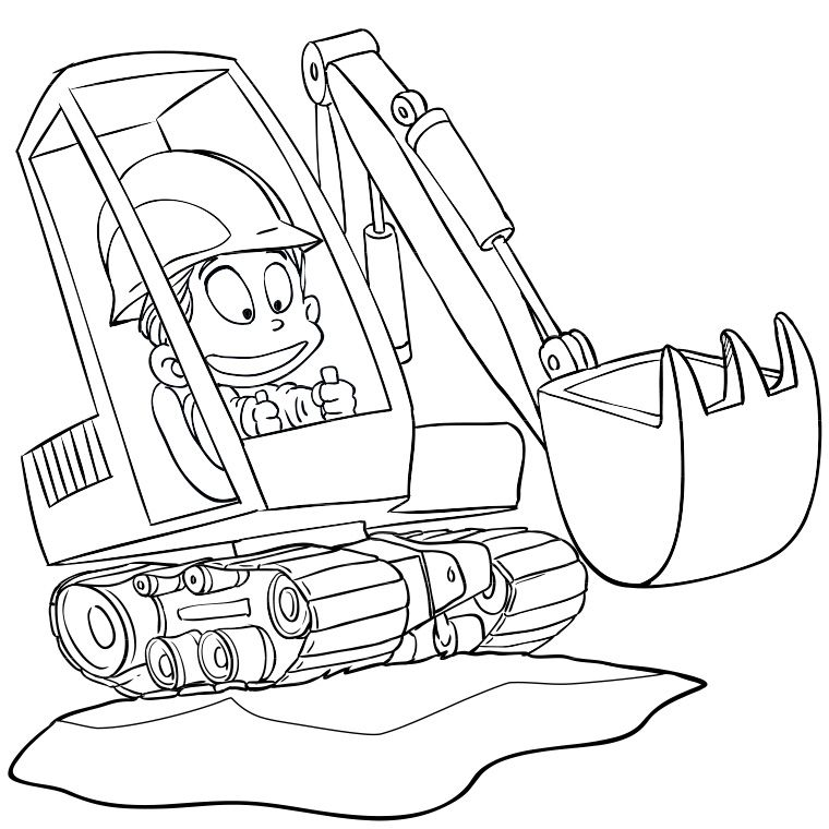 Coloriage engin de chantier coloriage coloriage chantier et coloriage enfant - Tractopelle dessin ...