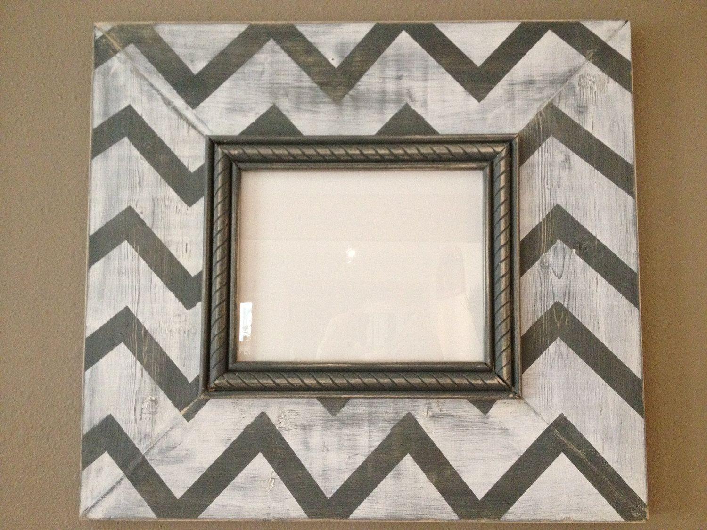 Gray/White Chevron - Distressed Hardwood frame