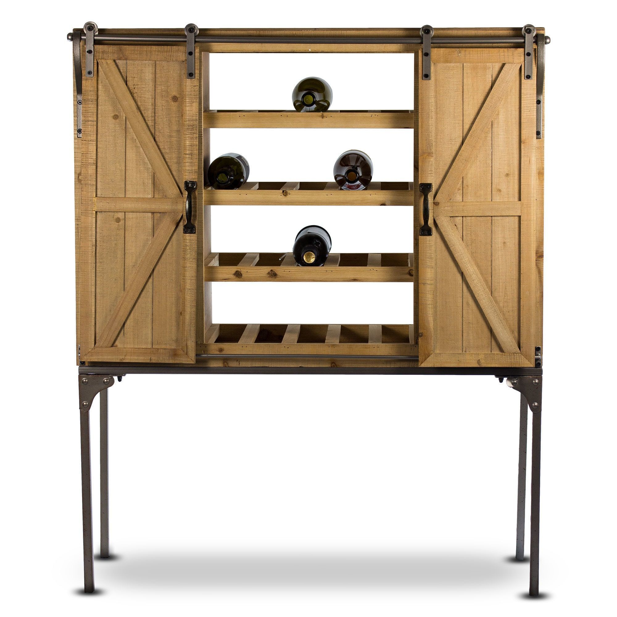 Gallery rustic wood wine rack barn door glassware