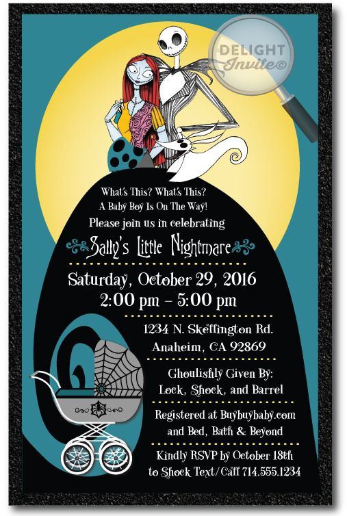 Nightmare Before Christmas Baby Shower Invitation [DI 4525] : Custom  Invitations And Announcements