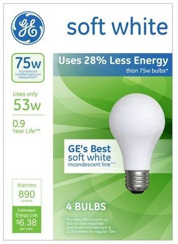 General Electric 75w 4pk Energy Efficient Halogen Light Bulb Soft White Bulb With Images Halogen Light Bulbs Bulb Light Bulb