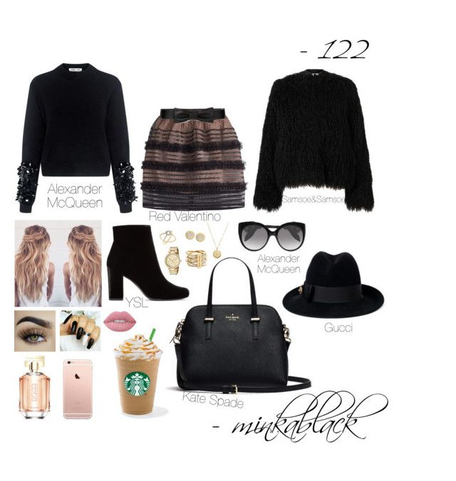 """""""122"""" by minkablack ❤ liked on Polyvore featuring RED Valentino, McQ by Alexander McQueen, Kate Spade, Samsøe & Samsøe, Yves Saint Laurent, HUGO, Lime Crime, Michael Kors, Alexander McQueen and Gucci"""