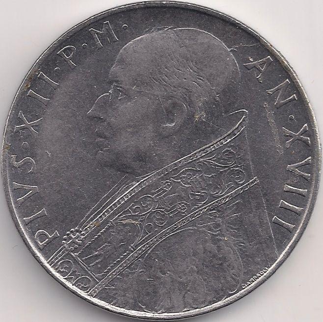 Motivseite Münze Europa Südeuropa Vatikanstadt Lira 100 1955 1958