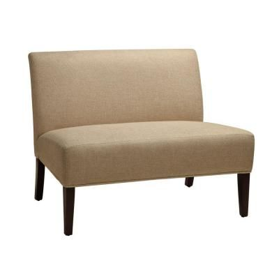 HomeSullivan Beige Polyester Fabric Loveseat with Espresso Legs (Model # 40468S-2 at The Home Depot)