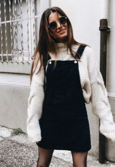 A winter look. Layer a sweater with a overall skirt/dress #cutewinteroutfits
