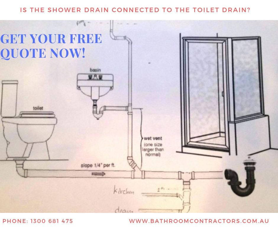 Is the shower drain connected to the toilet drain
