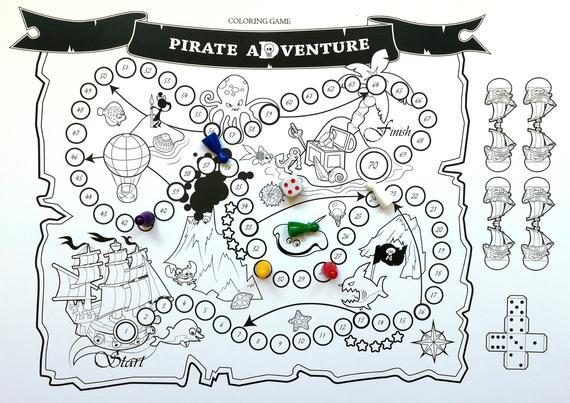 Coloring Game: Pirate Adventure| Board Game| Pirate Map, Ship ...