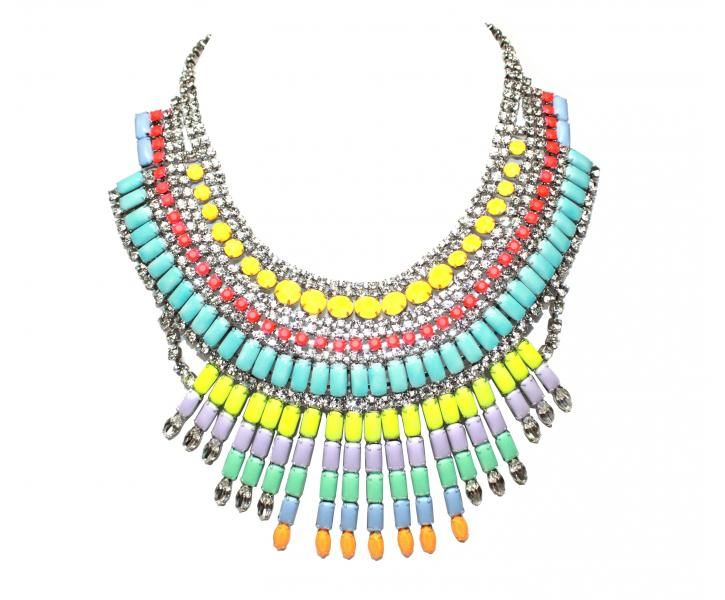www.cewax.fr aime ce collier plastron style ethnique tendance tribale PASTEL AND WHITE CRYSTAL MASSAI NECKLACE