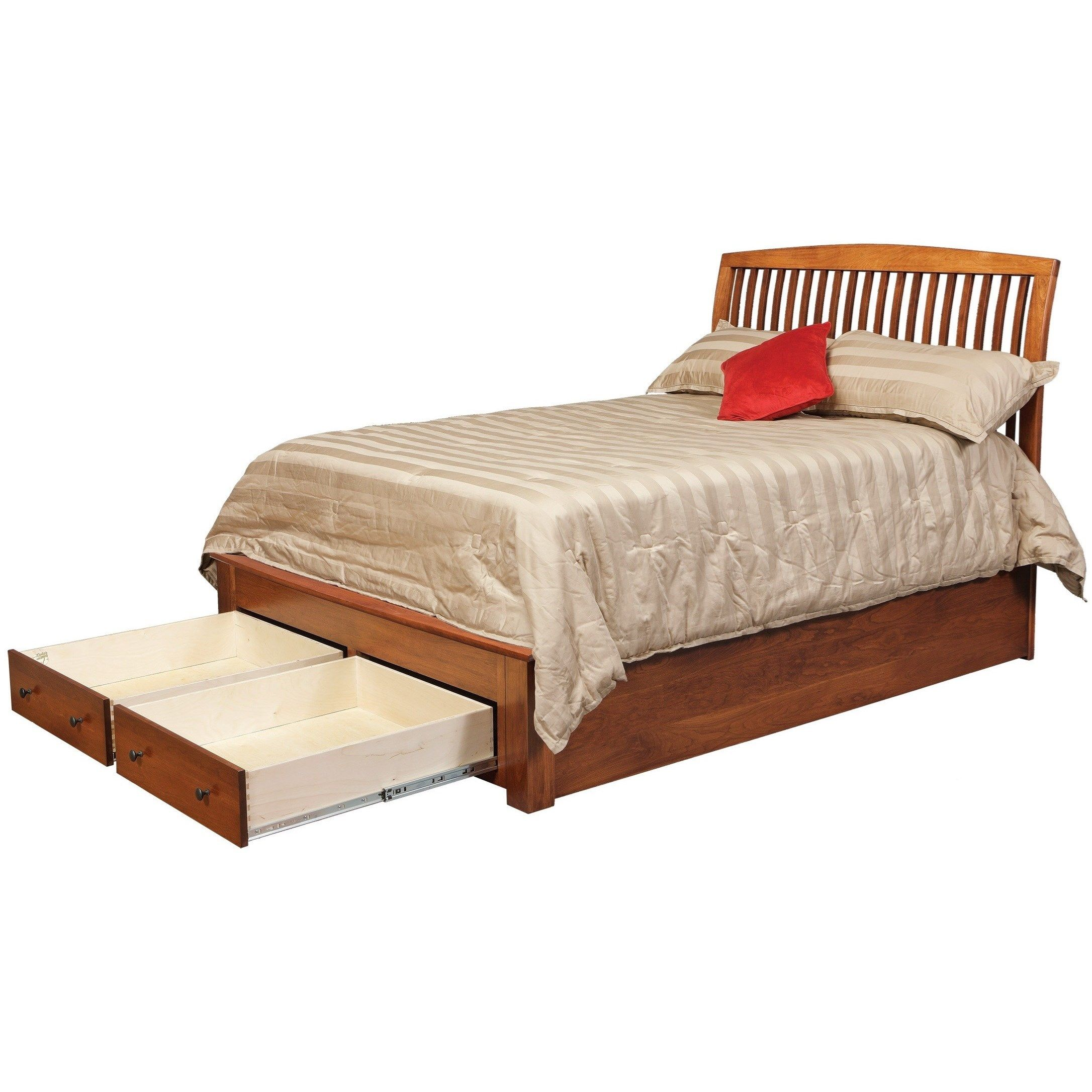 Queen Pedestal Bed With 2 Footboard Drawers