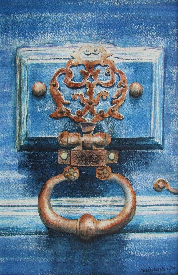 錆び付いたドア ノッカー ドアノッカー ドア 絵の具