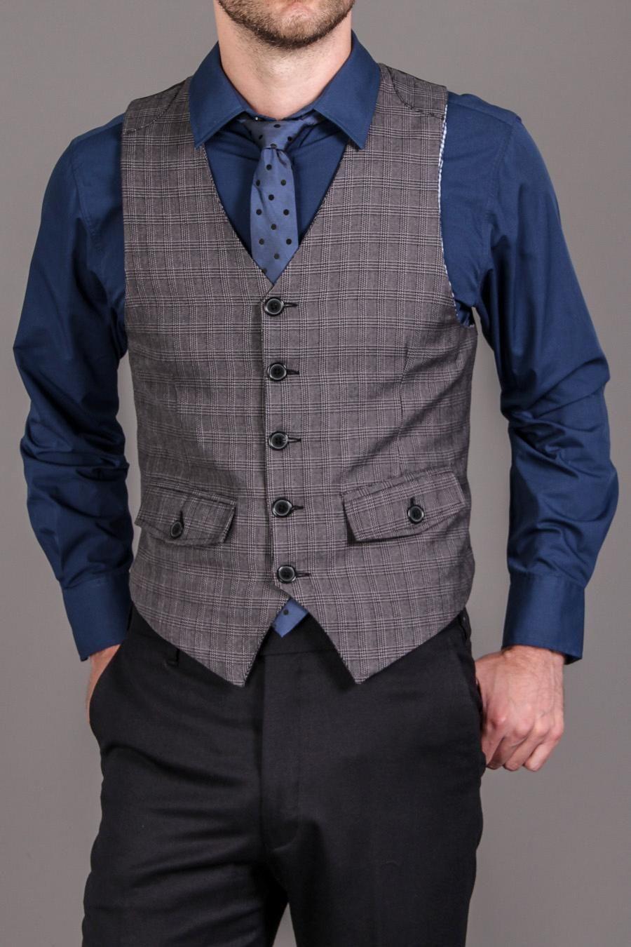306888d70 Sovereign Code Shirt, Tie, Vest 3 Piece Set Grey Plaid/Navy | Manly ...