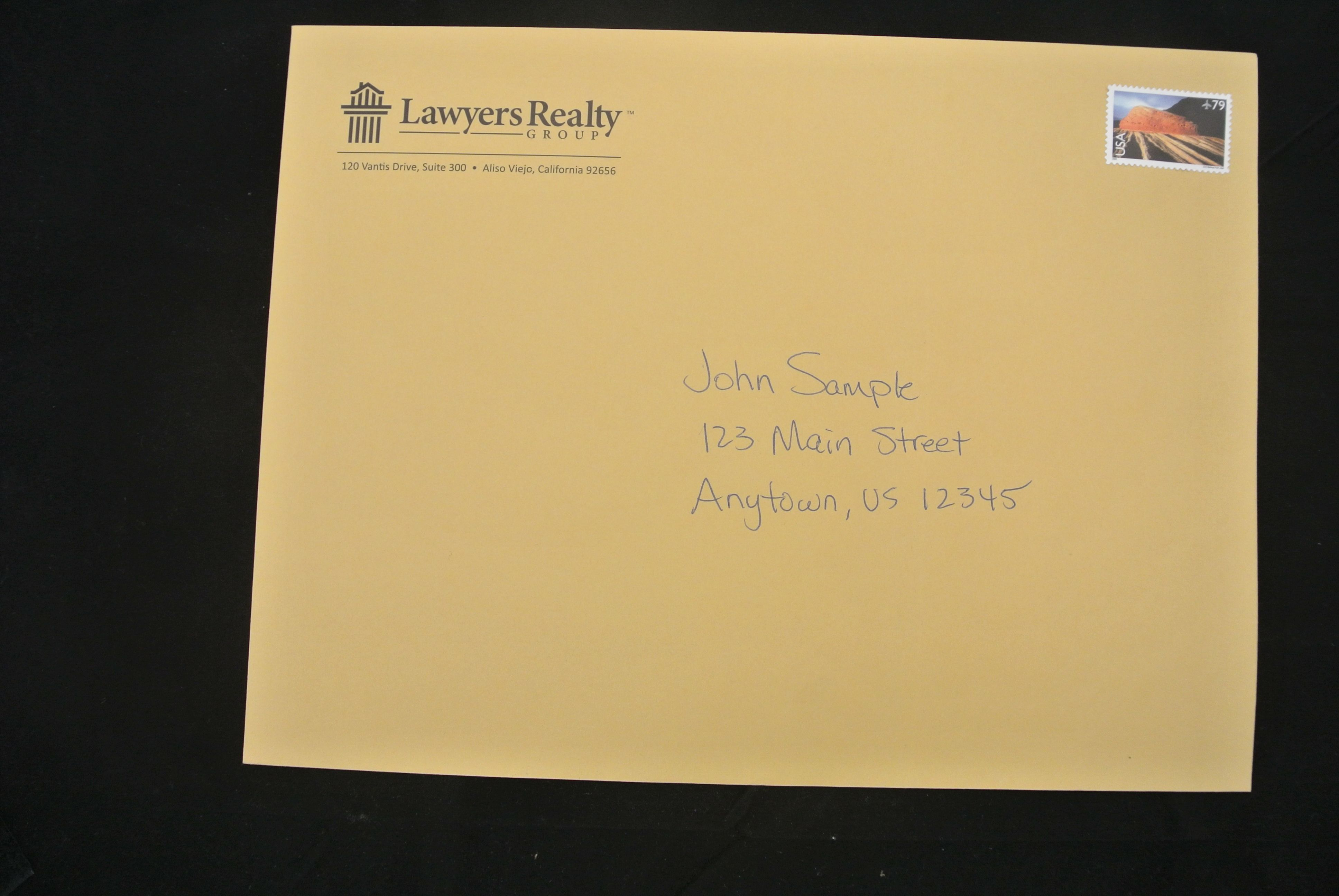 law firm offers valuable information to distressed home owners using a real hand addressed 9x12 envelope