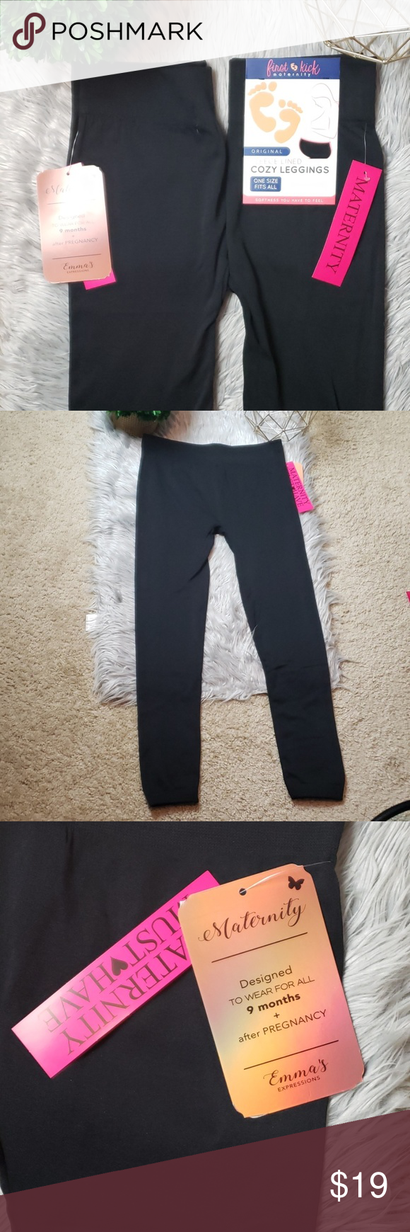 252c994ecd5f6 [2] Fleece Lined Cozy Maternity Leggings First Kick | One Size Fits All |  92% Polyester 8% Spandex | Waist 13.5