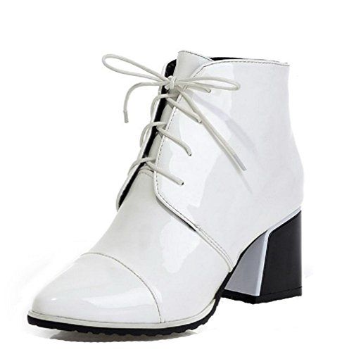 Women's Patent Leather Lace-Up Pointed Closed Toe High-Heels Low-Top Boots