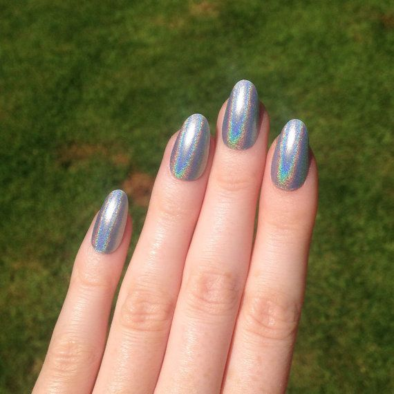 Ultra Holographic Silver Oval nails Nail by ...