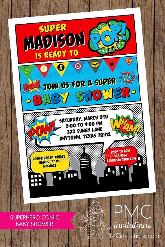 Custom Printed Superhero Comic Baby Shower Invitations - 1.00 each ...