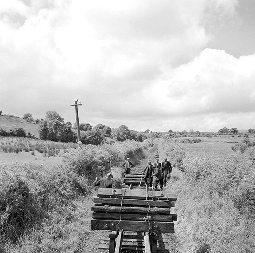 Back on track? Men working lifting railway tracks at Garadice, Co. Leitrim. Date: 2 July 1959